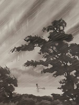 OLD Original Vintage Japanese Asian Fine Art PAINTING Artist Signed Artwork