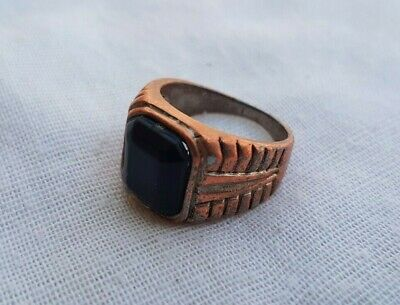 Rare Ancient Antique Ring Viking Bronze Stunning Artifact Rare Type Black Stone