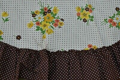 "Vintage 50's Cotton TABLECLOTH Cotton Floral Polka Dot Ruffles 62"" Rd"