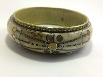 vintage Hand Camel Bone Bracelet with copper small circle shape patterns
