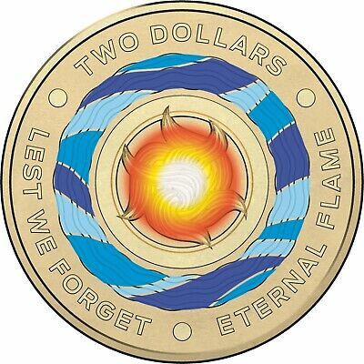 2018 2 Dollar Coin Australia Lest We Forget Eternal Flame Coloured FREE TRACKING