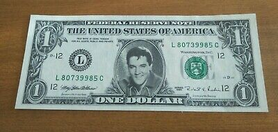 Rare! Usa 1995 Elvis Presley Authentic One (1) Dollar Green Seal Unc Banknote!