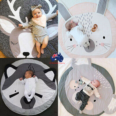 Crawling Blanket Cotton Home Padded Mat Round Animal Pattern Carpet Play Rug