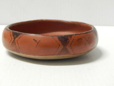 Signed Old Vintage Maricopa Two Tone Pottery Shallow Bowl Pot