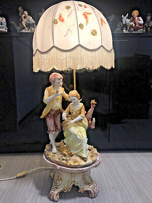 Antique Capodimonte lamp with shade ( 2 )  made in Italy .