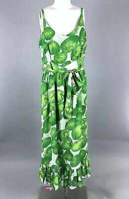 54ab0c5379 Vintage 70s Green Tomato Novelty Print Chiffon Maxi Summer Dress Womens  Medium