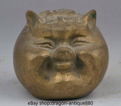 "2.6"" Old Chinese Copper Folk Feng Shui Zodiac Animal Pig Bat Lucky Wealth Statue"