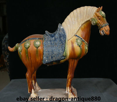 "15"" Old Collect Chinese Tang Sancai Porcelain Animal Zodiac Year Horse Sculpture"