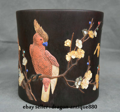 "8"" Chinese Redwood inlay Shell Carved Plum Blossom Parrot Brush Pot Pencil Vase"