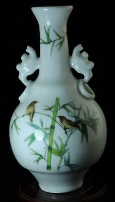 Chinese Old Hand-Made Pastel Porcelain Hand Painted Birds And Bamboo Vase C01