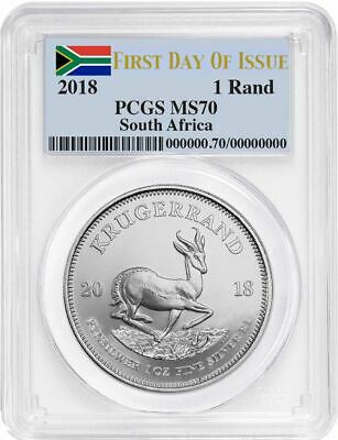 2018 SOUTH AFRICA KRUGERRAND 1 oz Silver FIRST DAY OF ISSUE PCGS MS70