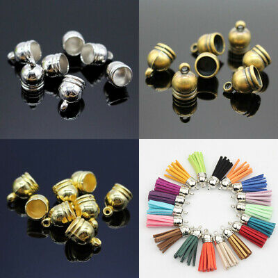 21110 10pcs Vintage Silver Alloy Blank Smooth 20mm Tassel Beads Ends Cap Charms