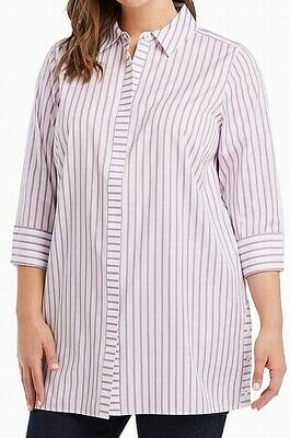becd66c83e7d24 Foxcroft NEW Purple Striped Women's Size 18W Plus Button Down Shirt $108  #841