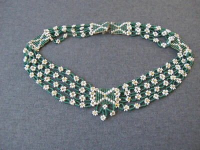Antique VTG Glass Beads Forget Me Not Daisy Violets Flower Bow Choker Necklace