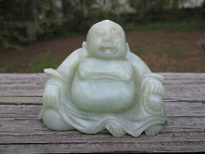 "Chinese Jade Buddah small statue 2 3/4"" x 2"" high figurine"