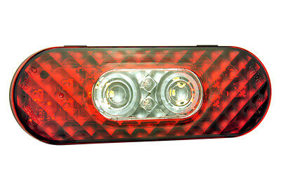 54702 - STT LAMP 6in RED/CLEAR LED OVAL W/INTEGRTD BACK-UP AMP CNNCTR - (1 EA)
