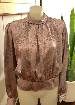 Vintage Disco Pink Satin Reptile Print Blouse Retro 70s sz 12 by Katies