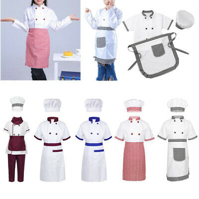 Boys Girls Chef Fancy Dress Kids Party Cosplay Fancy Dress Outfits Apron Cap Set