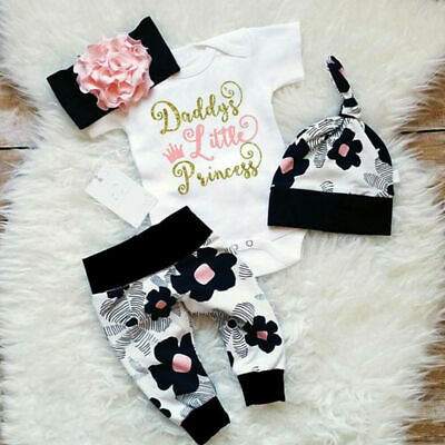 UK Newborn Baby Girls Floral Tops Romper Long Pants Hat Outfits Clothes 4Pcs Set