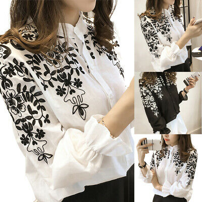 UK Plus Size Women Embroidery Blouse T-Shirt Tops Holiday Summmer Casual Shirt