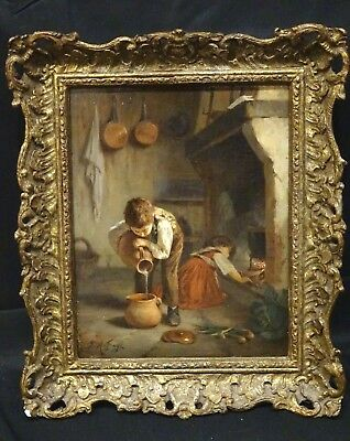 19th Century French Cottage Children Interior by Joseph Athanase AUFRAY