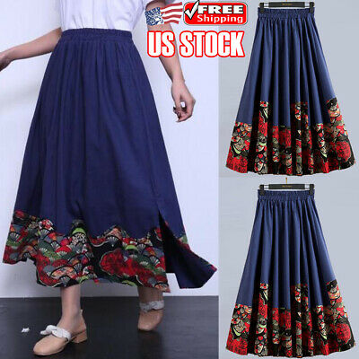 f462e2831 Womens Ladies Boho Floral Long Maxi Skirt Cotton Linen Retro Summer Casual  Dress