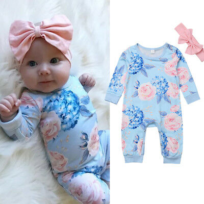 Blue Infant Baby Girl Floral Romper Bodysuit Jumpsuit+Headband Clothes Outfit