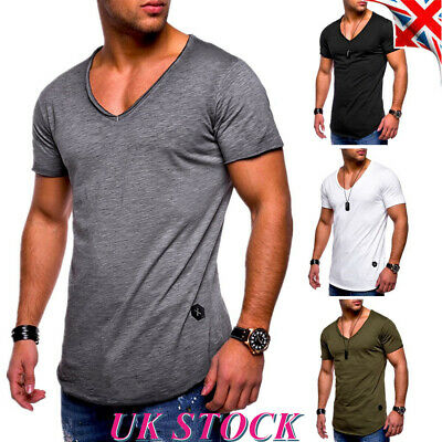 Mens V Neck Muscle T Shirt Short Sleeve Summer Slim Fit Gym Casual Tops Tee UK