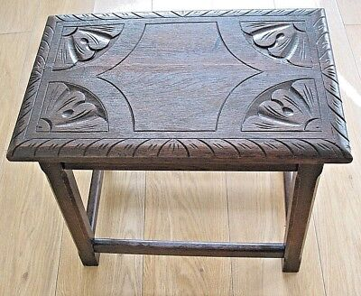 Old antique Arts & Crafts hand made & carved rustic farmhouse Oak Stool Seat