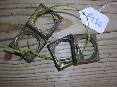 Set Of 4 Antique Brass Castor Collars (F136)