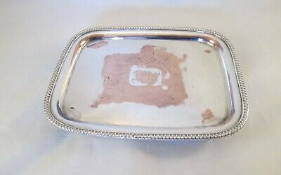 A Fine Old Sheffield Plate Tea Pot Stand / Card Tray -Who Dares Does Crest c1820