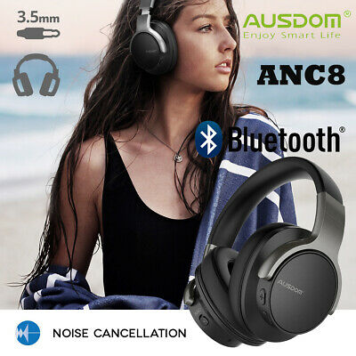 AUSDOM ANC8 Wireless Bluetooth Headphones Noise Cancelling Stereo Headset w/ mic