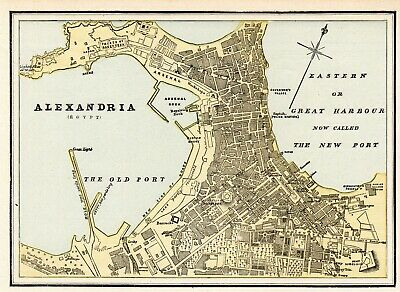 1890 Antique Alexandria Street Map Wall Art City Map of Alexandria Egypt  #6576