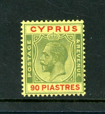 Cyprus 1924/28  90pi  Red/Yellow  (SG 117)  Fine  L.H.M.  (B112)