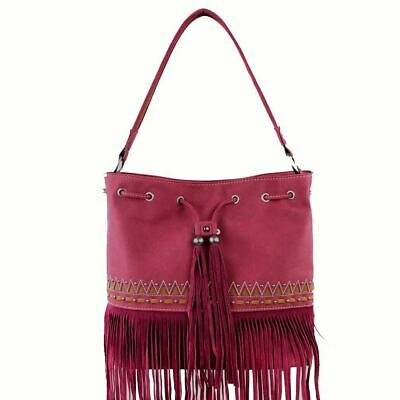 Montana West Ladies Purse Suede Tote Fringe Drawstring Tribal Design Red