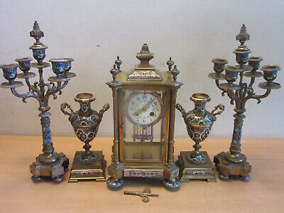Antique French Medaille d'Argent Bronze Champleve enameled Clock & Garniture set