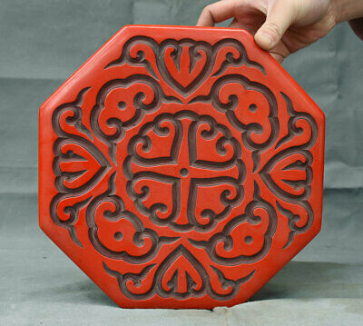 "10"" Marked Old China Red lacquerware Dynasty Palace Flower Jewelry Box"