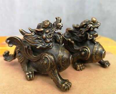 Tibet old Bronze lion Kirin brave troops statue pair figurine Mini pixiu