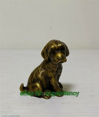 Collectible Tibet old Bronze Dog brave statue figurine Mini