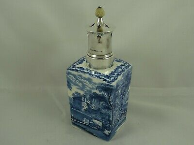 RARE, ENGLISH, CHINA & silver SUGAR SHAKER / POWDER FLASK, 1912