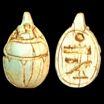 Beautiful Ancient Egyptian Scarab Amulet 300 Bc (1)