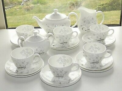 Wedgwood China Wild Oats 21 PC Teaset Teapot Cups Saucers Plates Milk Sugar