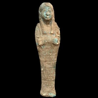 EGYPTIAN HIEROGLYPHIC SHABTI, LATE PERIOD 664 - 332 BC (6) LARGE OVER 17 cm TALL