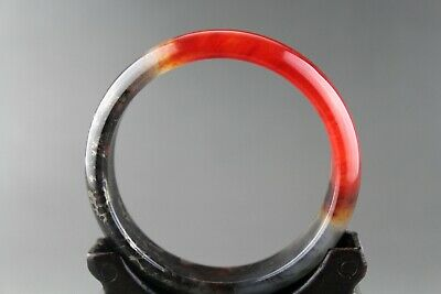 Exquisite Chinese old antique red blood jade hand-carved bangle bracelet 0002