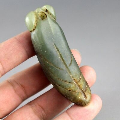 2.8'' Chinese old green jade hand-carved cicada statue amulet pendant 0766
