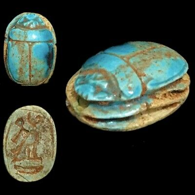 Beautiful Ancient Egyptian Glazed Scarab 300 Bc (3)