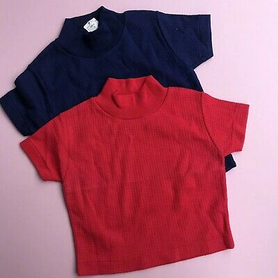 Vintage Baby 1970s Unworn Deadstock French Red Navy Waffle Basics Tops 12M