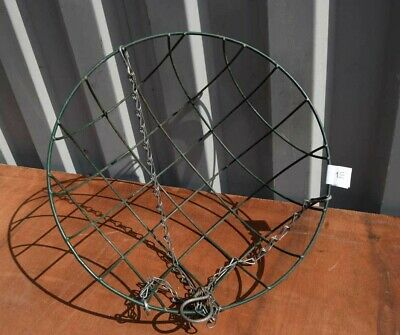 Green Plastic Covered Metal hanging basket with chains.