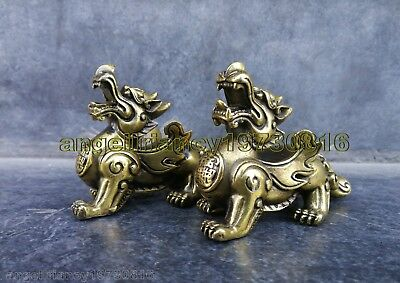"Antiques Pair Chinese sacred Bronze dragon Pixiu statue Lucky bì xié 4.7""L each"