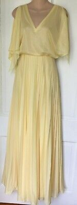 Vtg 70's Dress Gown Accordion Pleat Maxi Yellow Prom Draped Butterfly Sleeve S